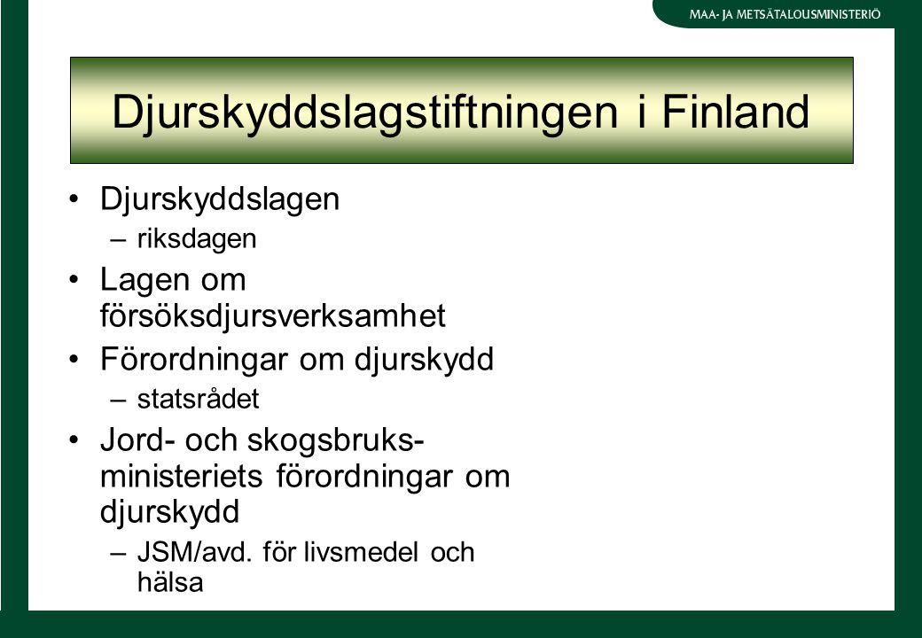 Djurskyddslagstiftningen i Finland Djurskyddslagen –riksdagen Lagen om försöksdjursverksamhet Förordningar om djurskydd –statsrådet Jord- och skogsbruks- ministeriets förordningar om djurskydd –JSM/avd.