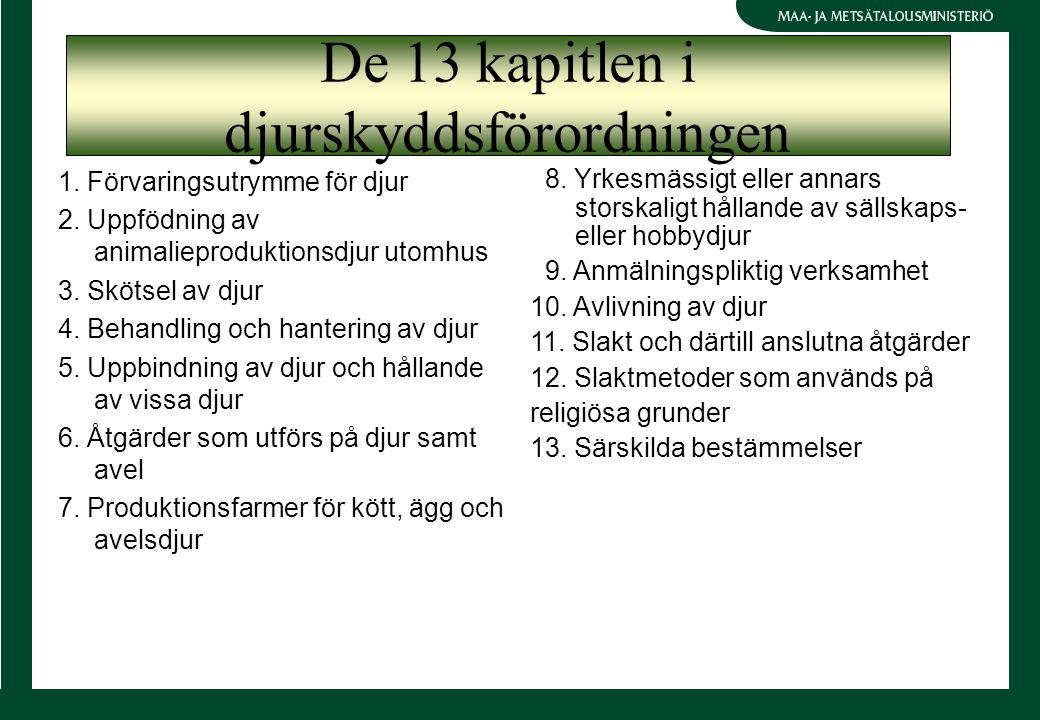 1. Förvaringsutrymme för djur 2. Uppfödning av animalieproduktionsdjur utomhus 3. Skötsel av djur 4. Behandling och hantering av djur 5. Uppbindning a