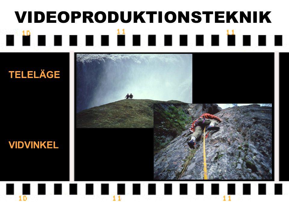 VIDEOPRODUKTIONSTEKNIK Videokameran är utrustad med olika objektiv. Brännvidd = ett mått på objektivets förstoringsgrad. Betecknas f och mäts i mm. At