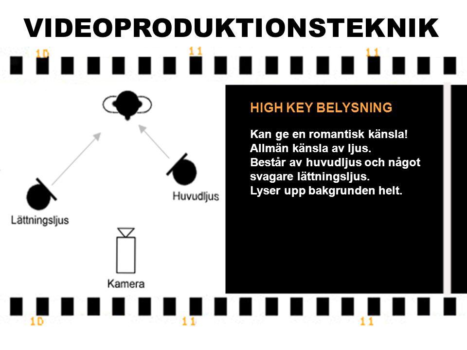 VIDEOPRODUKTIONSTEKNIK HÅRT LJUS Skall användas om kameran har långt till motivet.