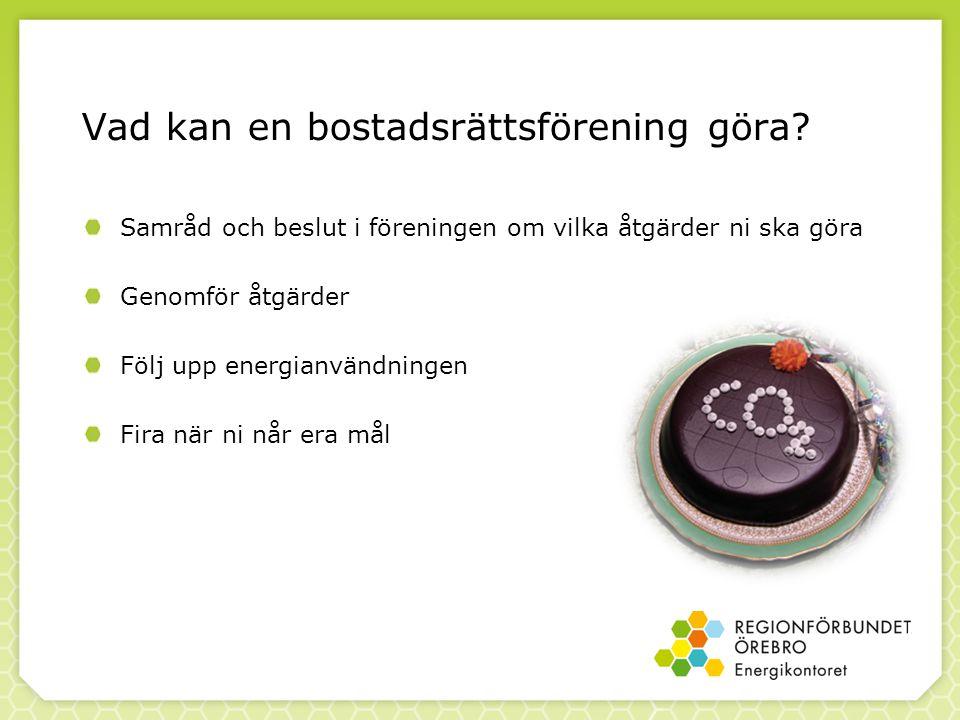 Vad kan en bostadsrättsförening göra? Samråd och beslut i föreningen om vilka åtgärder ni ska göra Genomför åtgärder Följ upp energianvändningen Fira