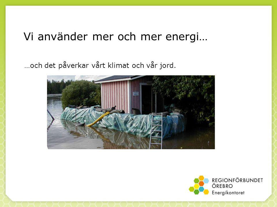 Vi använder mer och mer energi… …och det påverkar vårt klimat och vår jord.