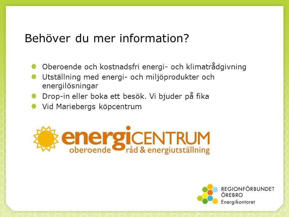 Behöver du mer information? Oberoende och kostnadsfri energi- och klimatrådgivning Utställning med energi- och miljöprodukter och energilösningar Drop