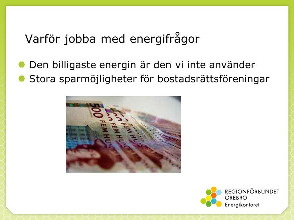 Varför jobba med energifrågor Den billigaste energin är den vi inte använder Stora sparmöjligheter för bostadsrättsföreningar