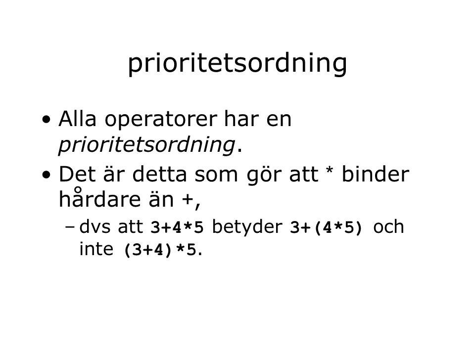 prioritetsordning Alla operatorer har en prioritetsordning. Det är detta som gör att * binder hårdare än +, –dvs att 3+4*5 betyder 3+(4*5) och inte (3