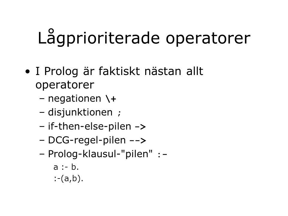 Lågprioriterade operatorer I Prolog är faktiskt nästan allt operatorer –negationen \+ –disjunktionen ; –if-then-else-pilen -> –DCG-regel-pilen --> –Prolog-klausul- pilen :- a :- b.