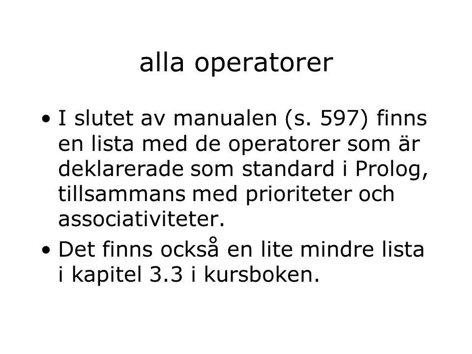 alla operatorer I slutet av manualen (s.