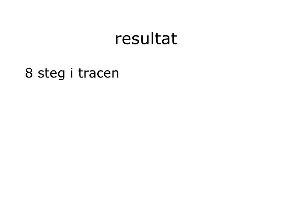 resultat 8 steg i tracen