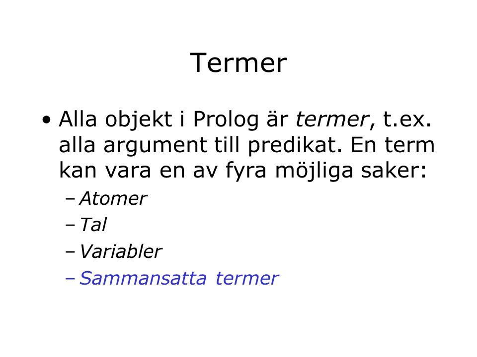 Termer Alla objekt i Prolog är termer, t.ex. alla argument till predikat.