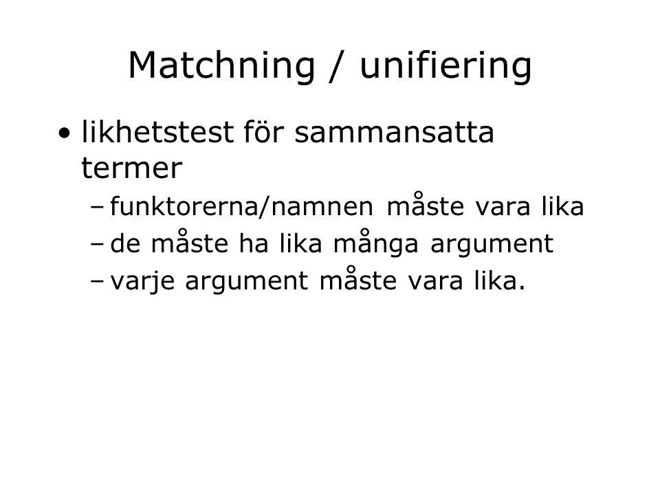 Matchning / unifiering likhetstest för sammansatta termer –funktorerna/namnen måste vara lika –de måste ha lika många argument –varje argument måste vara lika.