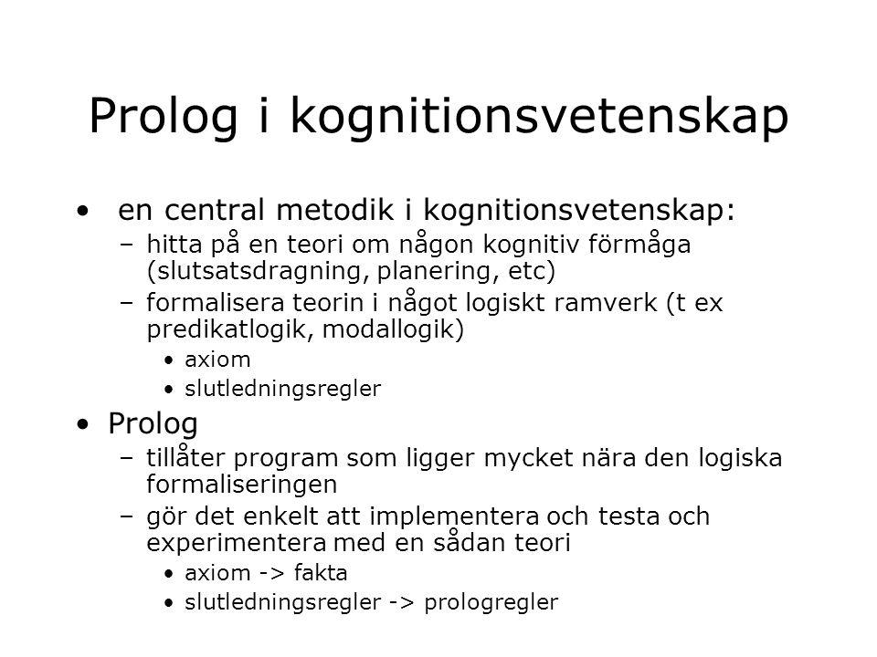 Prolog i kognitionsvetenskap en central metodik i kognitionsvetenskap: –hitta på en teori om någon kognitiv förmåga (slutsatsdragning, planering, etc) –formalisera teorin i något logiskt ramverk (t ex predikatlogik, modallogik) axiom slutledningsregler Prolog –tillåter program som ligger mycket nära den logiska formaliseringen –gör det enkelt att implementera och testa och experimentera med en sådan teori axiom -> fakta slutledningsregler -> prologregler
