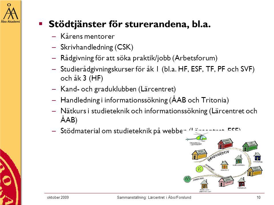 oktober 2009Sammanställning: Lärcentret i Åbo/Forslund10  Stödtjänster för sturerandena, bl.a.