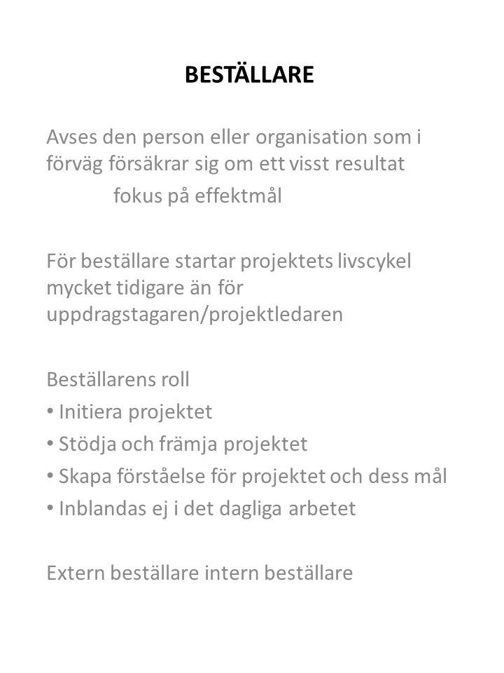 INTERN BESTÄLLARE Bör finnas på hög nivå i linjeorganisation Övergripande ansvarig för projektet Helhetsgrepp om projektet Projektledaren avrapporterar Knyta samman projektet med linjeorganisation Se till att basorganisationens spelregler följs beslutsfattande konfliktlösning Undvika suboptimering mellan flera projekt Granska och kontrollera kvalitet/måluppfyllelse Roll och uppgift varierar under projektets faser