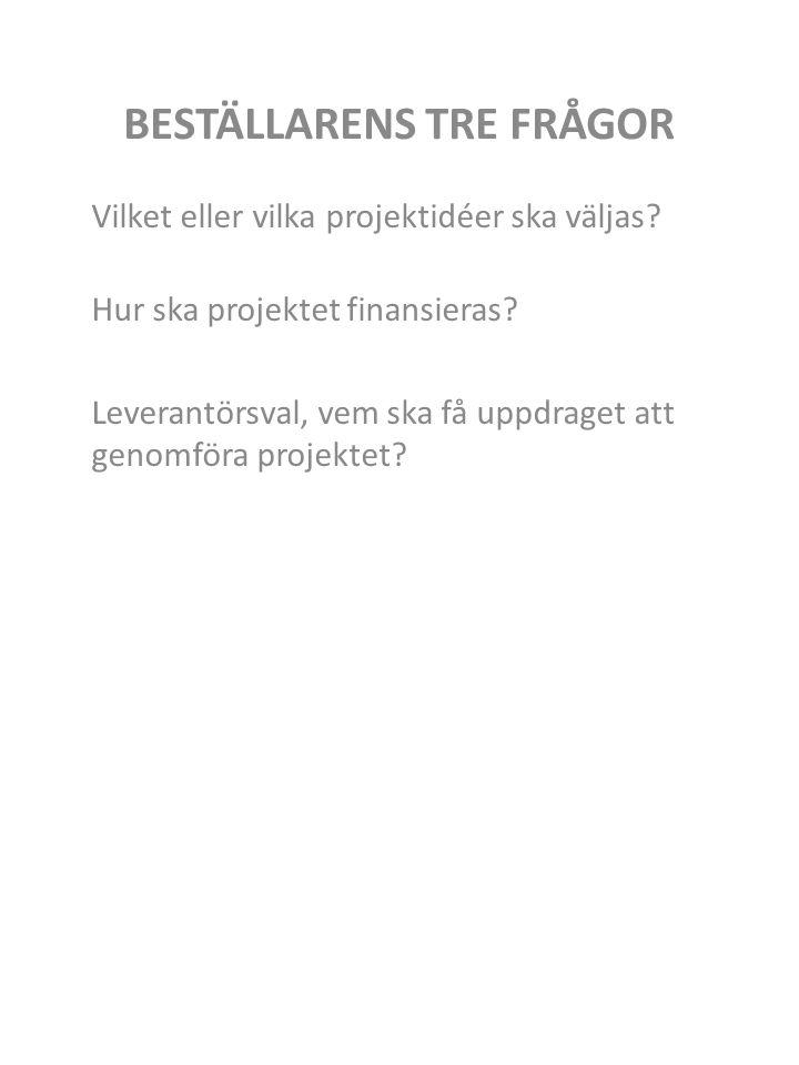 BESTÄLLARENS TRE FRÅGOR Vilket eller vilka projektidéer ska väljas.