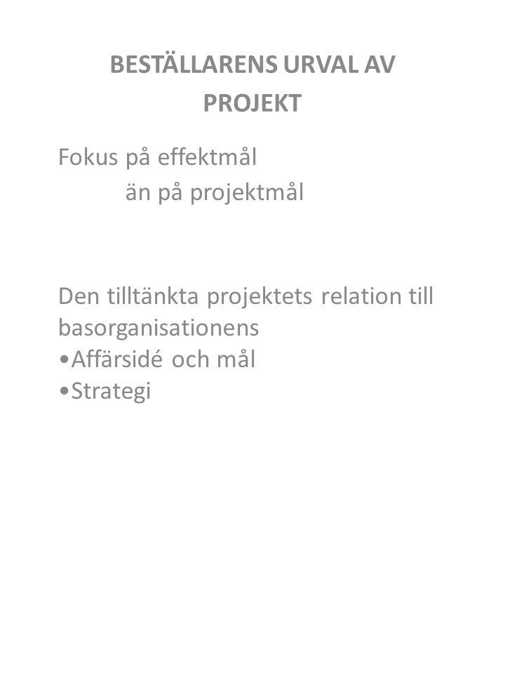 BESTÄLLARENS URVAL AV PROJEKT Fokus på effektmål än på projektmål Den tilltänkta projektets relation till basorganisationens Affärsidé och mål Strategi