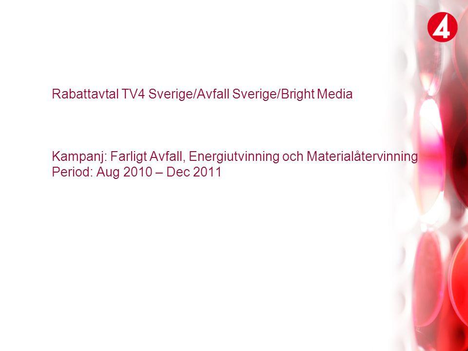 Rabattavtal TV4 Sverige/Avfall Sverige/Bright Media Kampanj: Farligt Avfall, Energiutvinning och Materialåtervinning Period: Aug 2010 – Dec 2011