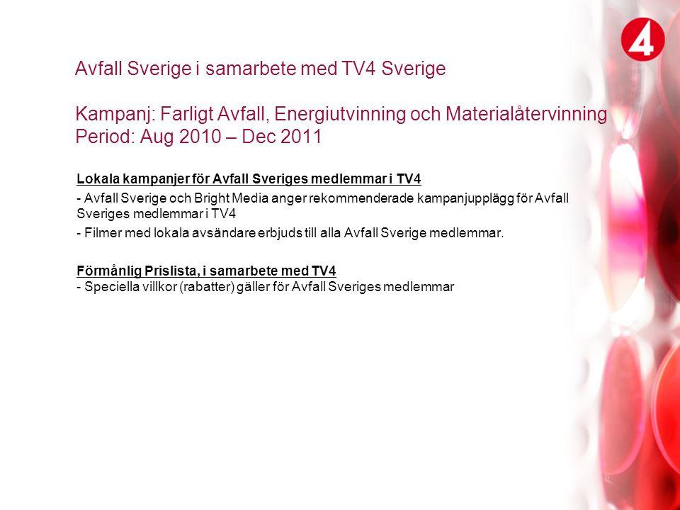 TV4 Sverige erbjuder: Rabattavtal Avfall Sverige Villkor som TV4 erbjuder: Vi erbjuder alla Avfall Sveriges medlemmar: 32% rabatt samt volymrabatter som varierar över TV4´s sändare.