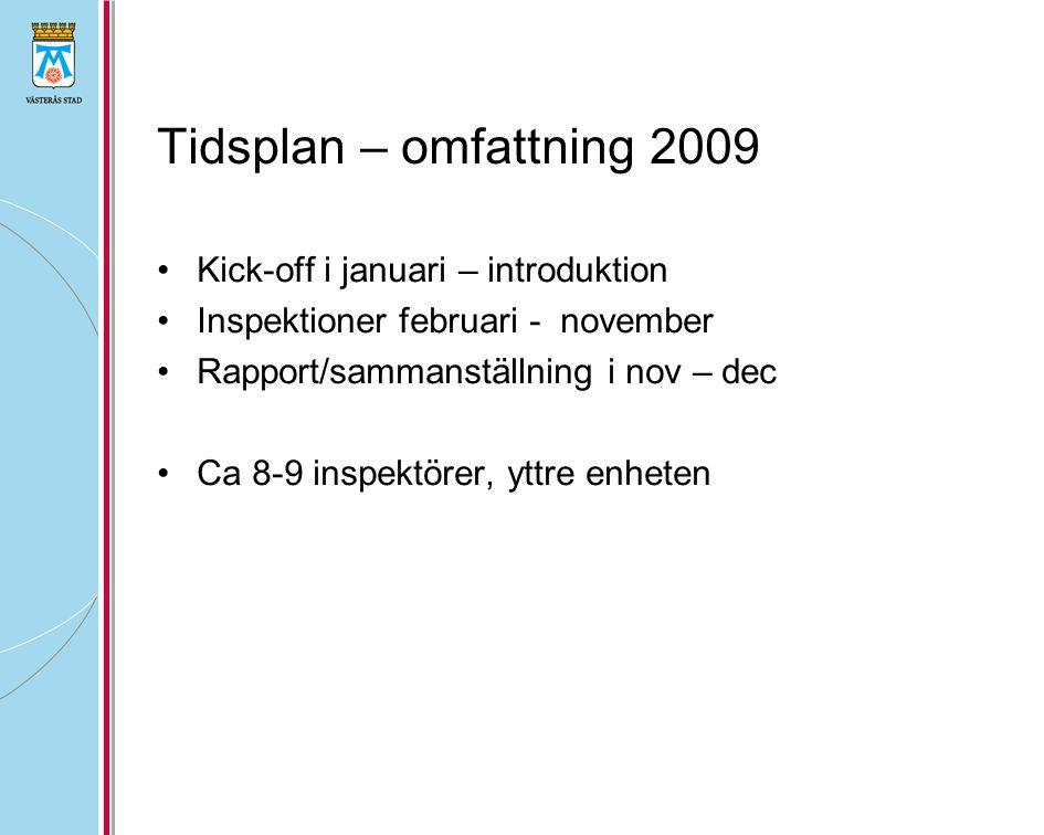 Tidsplan – omfattning 2009 Kick-off i januari – introduktion Inspektioner februari - november Rapport/sammanställning i nov – dec Ca 8-9 inspektörer,