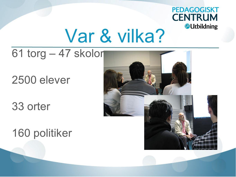 Var & vilka 61 torg – 47 skolor 2500 elever 33 orter 160 politiker