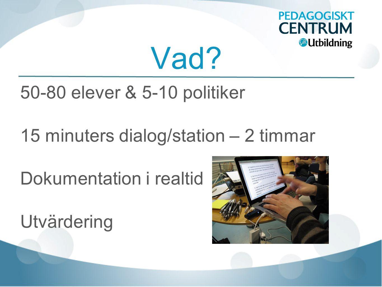Vad? 50-80 elever & 5-10 politiker 15 minuters dialog/station – 2 timmar Dokumentation i realtid Utvärdering