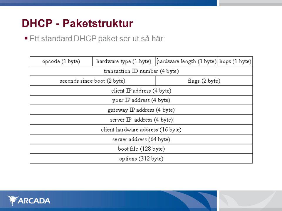DHCP - Paketstruktur  Ett standard DHCP paket ser ut så här: