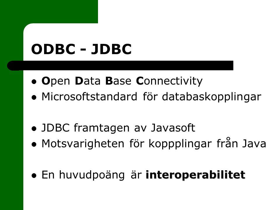 ODBC - JDBC Open Data Base Connectivity Microsoftstandard för databaskopplingar JDBC framtagen av Javasoft Motsvarigheten för koppplingar från Java interoperabilitet En huvudpoäng är interoperabilitet