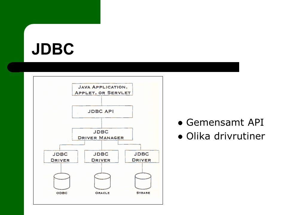 JDBC Gemensamt API Olika drivrutiner