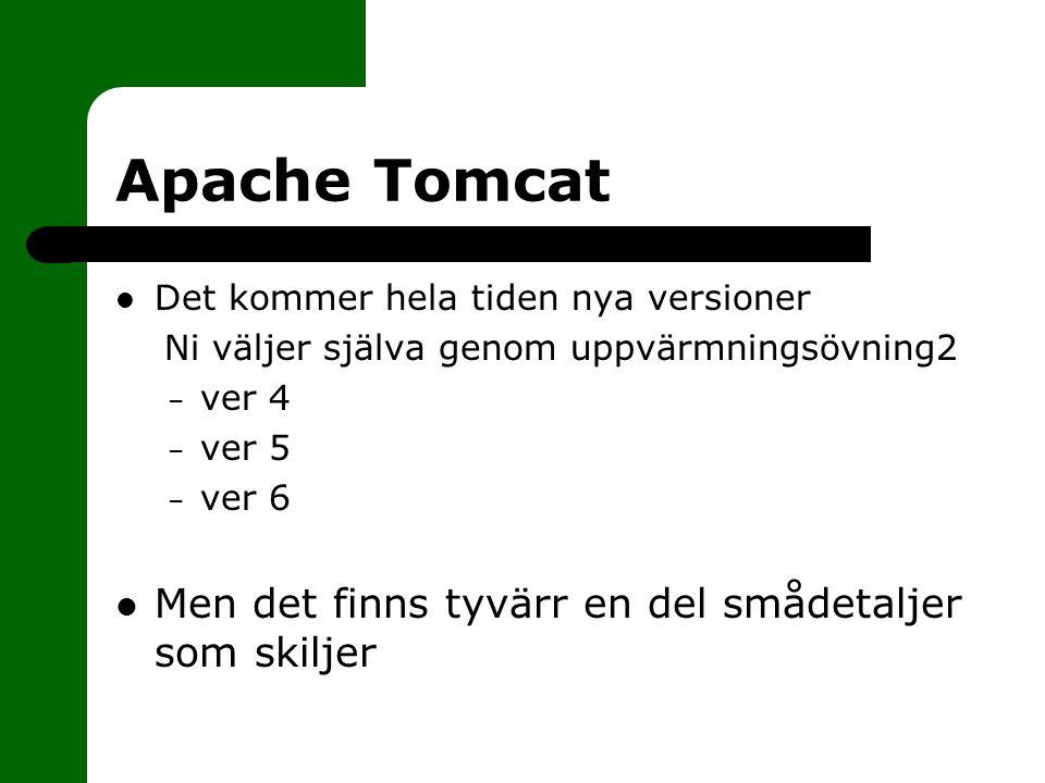 Apache Tomcat Starta Tomcat: – startup.bat – startup.sh Stoppa Tomcat: – shutdown.bat – shutdown.sh