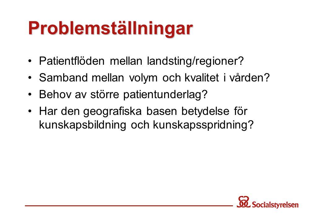 Problemställningar Patientflöden mellan landsting/regioner.
