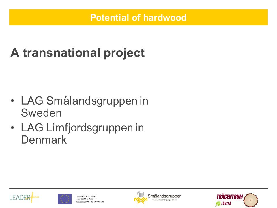 Potential of hardwood Europeiska Unionen Utvecklings- och garantifonden för jordbruket Financing and project participants Project description Letter to the municipalities (local authorities) LAG had contact with the regional and national authorities Contact enterprises Contact universities