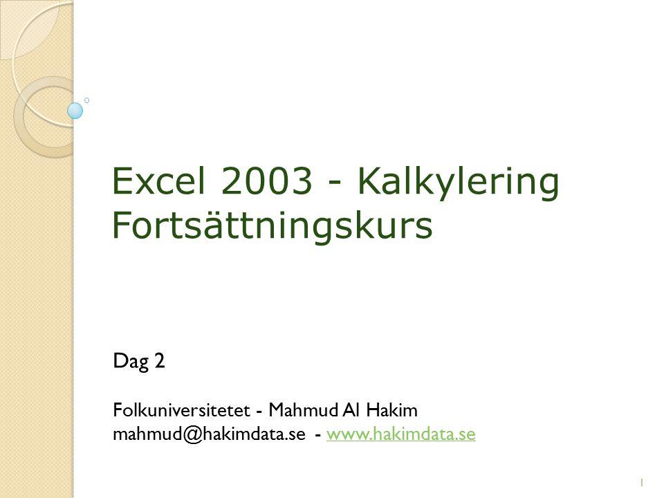 Excel 2003 - Kalkylering Fortsättningskurs Dag 2 Folkuniversitetet - Mahmud Al Hakim mahmud@hakimdata.se - www.hakimdata.sewww.hakimdata.se 1