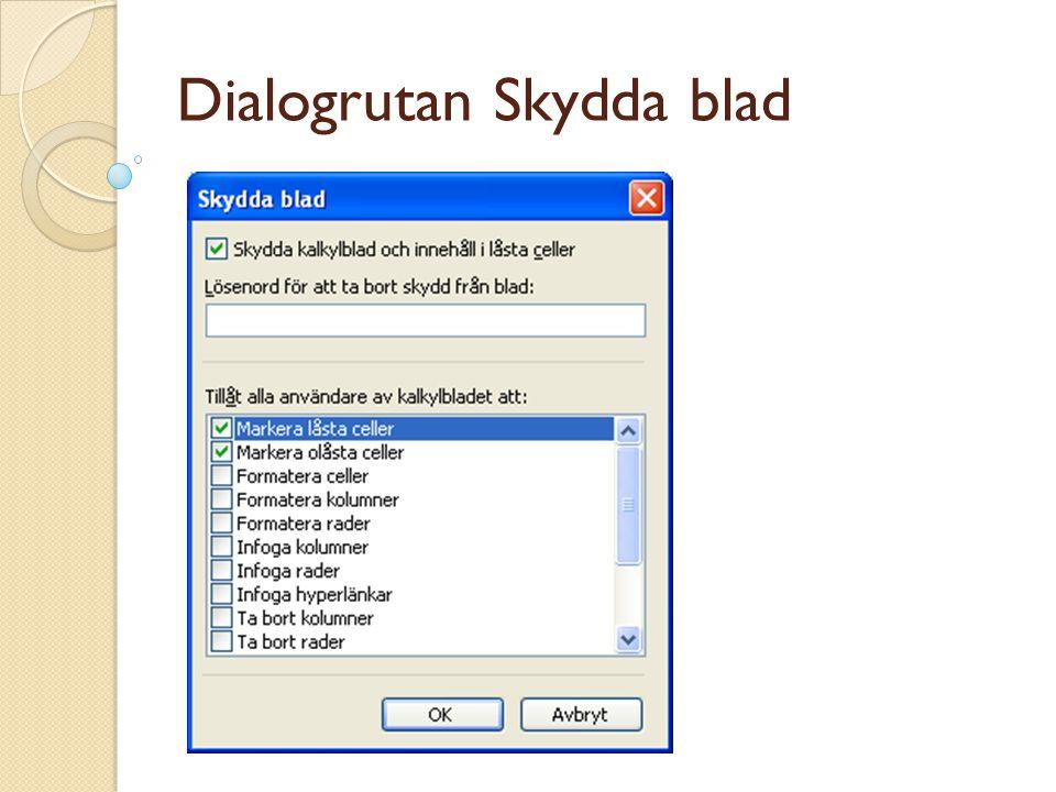Dialogrutan Skydda blad