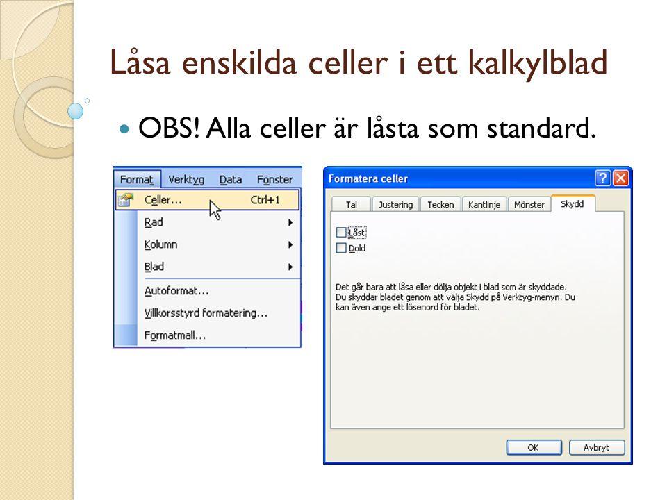 Låsa enskilda celler i ett kalkylblad OBS! Alla celler är låsta som standard.