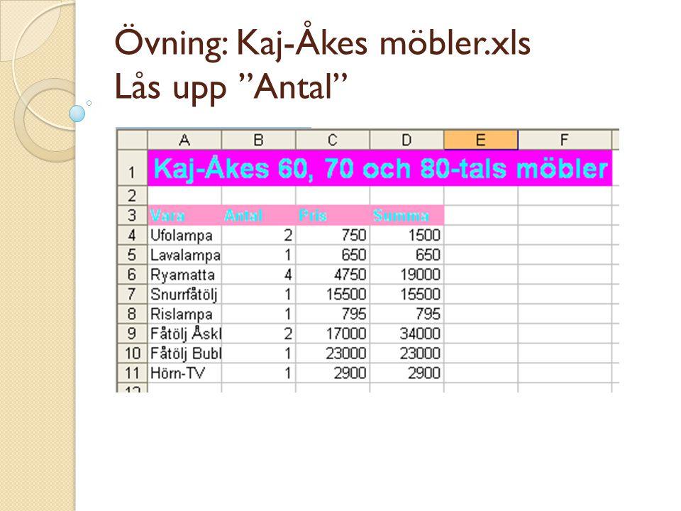 Övning: Kaj-Åkes möbler.xls Lås upp Antal