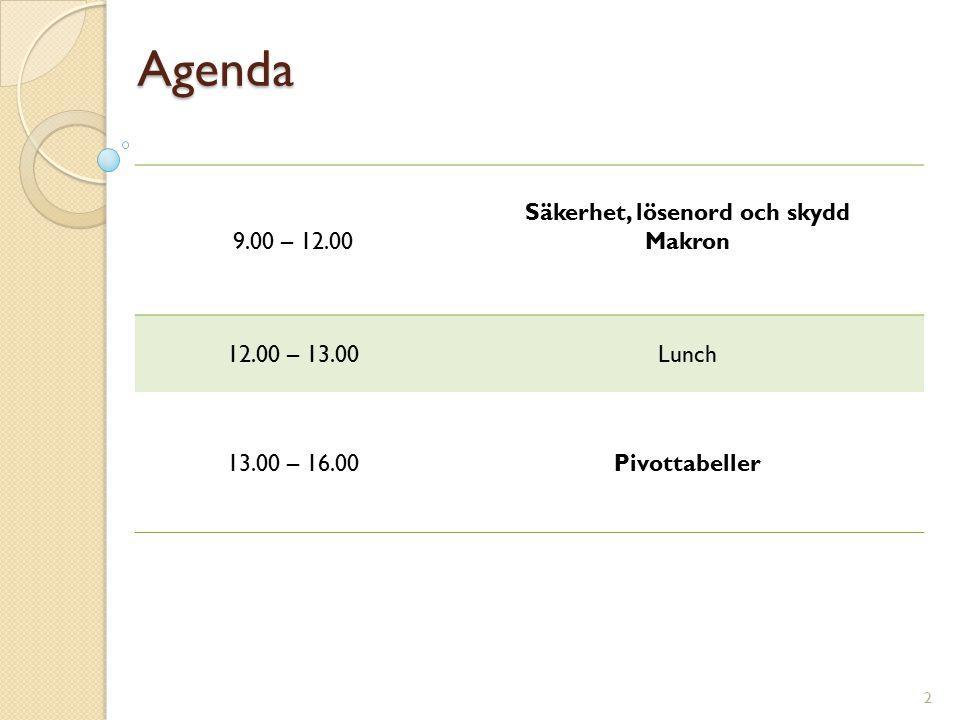 Agenda 9.00 – 12.00 Säkerhet, lösenord och skydd Makron 12.00 – 13.00Lunch 13.00 – 16.00Pivottabeller 2