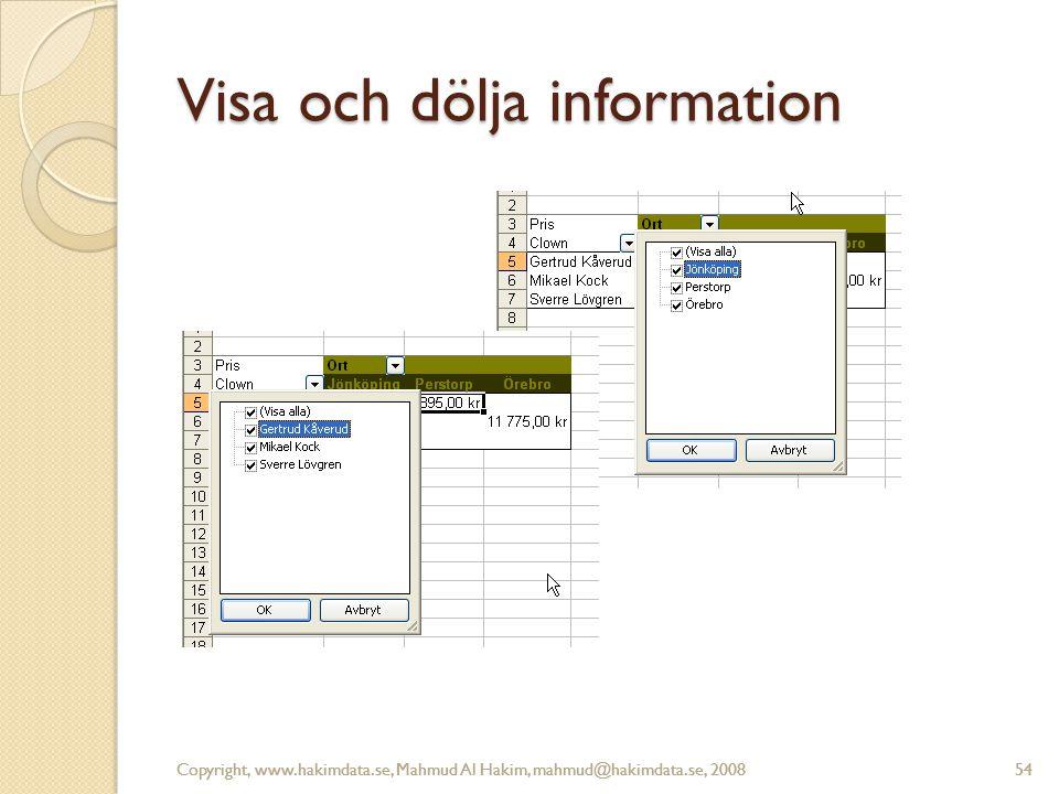 Copyright, www.hakimdata.se, Mahmud Al Hakim, mahmud@hakimdata.se, 200854 Visa och dölja information Copyright, www.hakimdata.se, Mahmud Al Hakim, mahmud@hakimdata.se, 200854