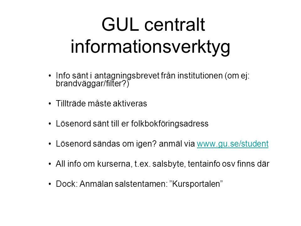 GUL centralt informationsverktyg Info sänt i antagningsbrevet från institutionen (om ej: brandväggar/filter ) Tillträde måste aktiveras Lösenord sänt till er folkbokföringsadress Lösenord sändas om igen.