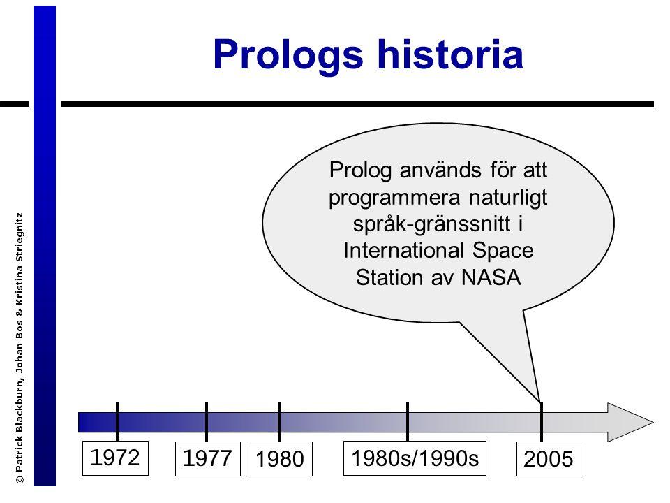 © Patrick Blackburn, Johan Bos & Kristina Striegnitz Prologs historia 1 972 1 9771980 1980s/1990s 2005 Prolog används för att programmera naturligt språk-gränssnitt i International Space Station av NASA