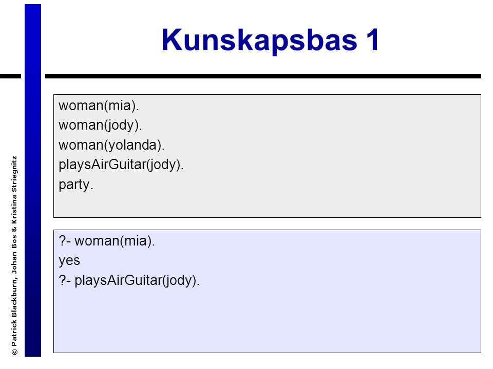 © Patrick Blackburn, Johan Bos & Kristina Striegnitz Kunskapsbas 1 woman(mia).