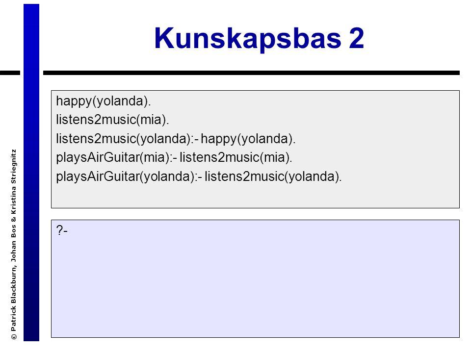 © Patrick Blackburn, Johan Bos & Kristina Striegnitz Kunskapsbas 2 happy(yolanda).