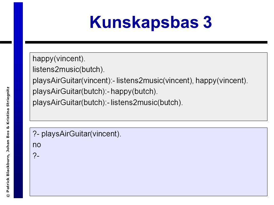 © Patrick Blackburn, Johan Bos & Kristina Striegnitz Kunskapsbas 3 happy(vincent).