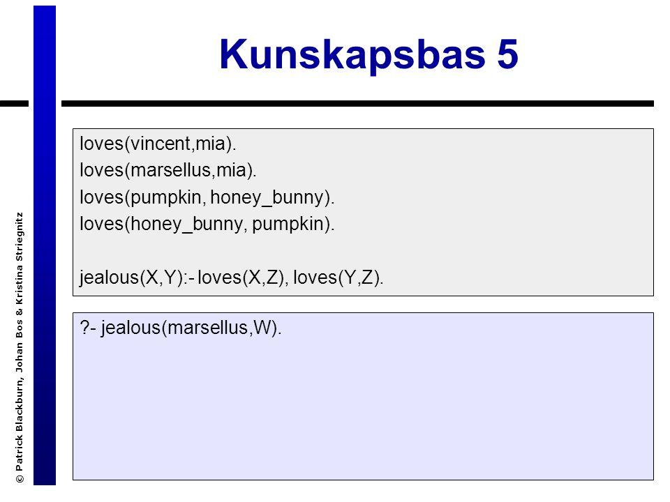 © Patrick Blackburn, Johan Bos & Kristina Striegnitz Kunskapsbas 5 loves(vincent,mia).