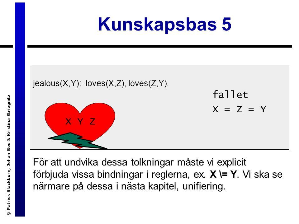 © Patrick Blackburn, Johan Bos & Kristina Striegnitz Kunskapsbas 5 jealous(X,Y):- loves(X,Z), loves(Z,Y).