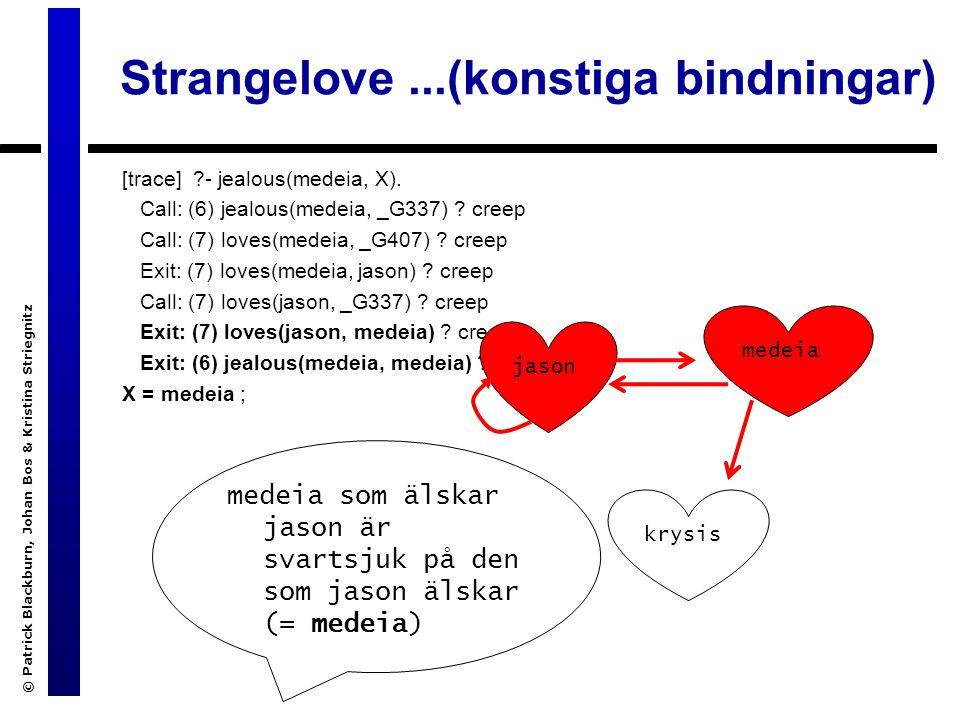 Strangelove...(konstiga bindningar) [trace] - jealous(medeia, X).