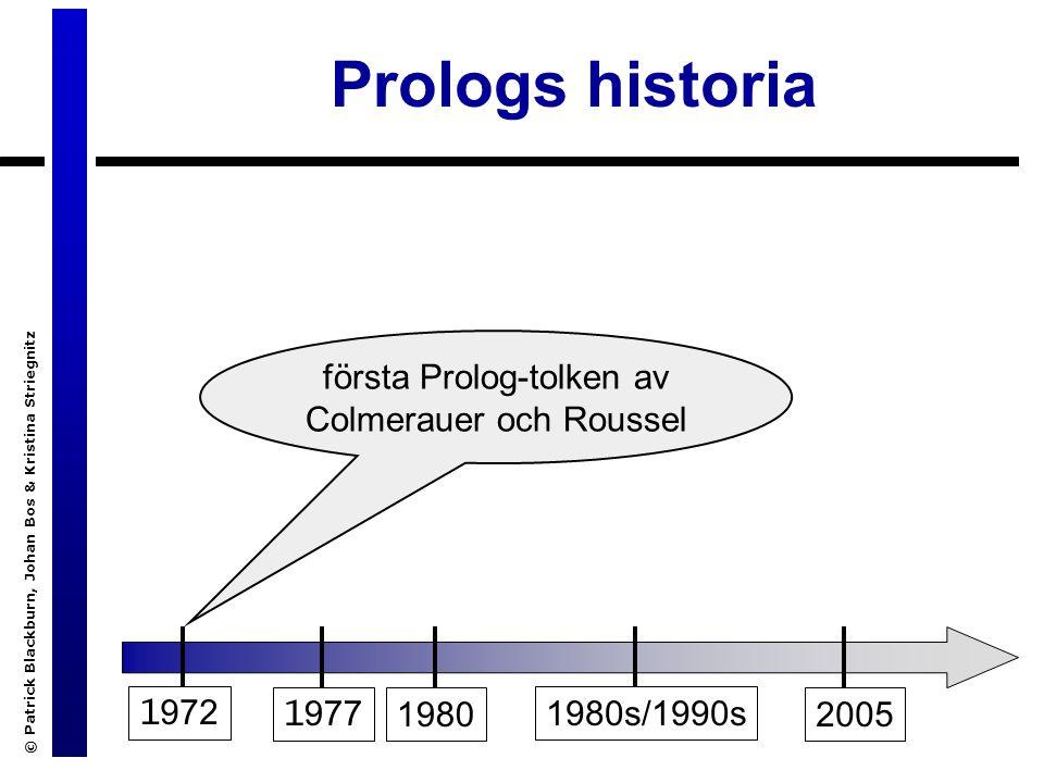 © Patrick Blackburn, Johan Bos & Kristina Striegnitz Prologs historia 1 972 1 9771980 1980s/1990s 2005 implementation av en DEC10-kompilator av Warren