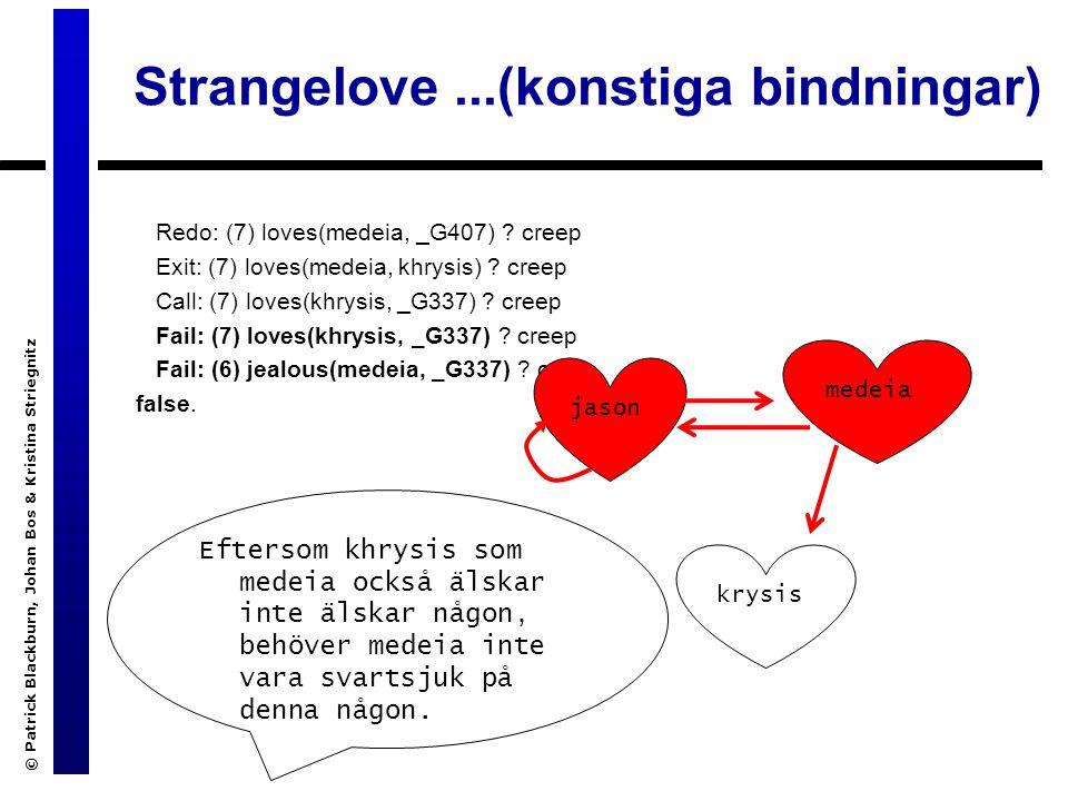 Strangelove...(konstiga bindningar) Redo: (7) loves(medeia, _G407) .