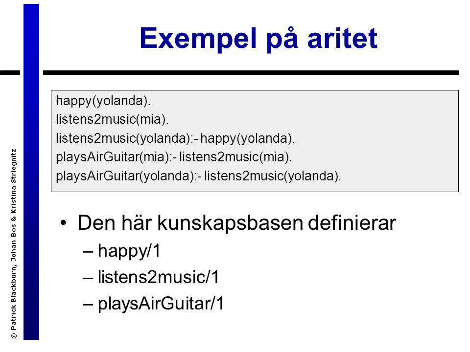 © Patrick Blackburn, Johan Bos & Kristina Striegnitz Exempel på aritet Den här kunskapsbasen definierar –happy/1 –listens2music/1 –playsAirGuitar/1 happy(yolanda).