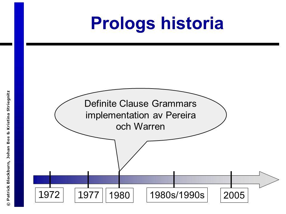 © Patrick Blackburn, Johan Bos & Kristina Striegnitz Prologs historia 1 972 1 9771980 1980s/1990s 2005 Definite Clause Grammars implementation av Pereira och Warren