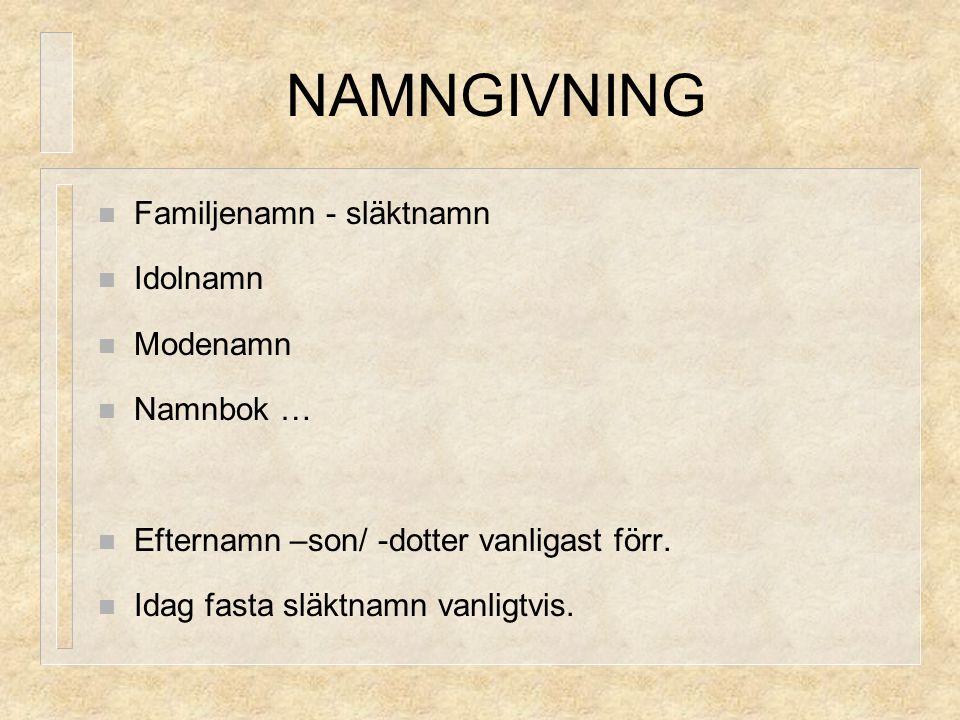 NAMNGIVNING Familjenamn - släktnamn Idolnamn Modenamn Namnbok … Efternamn –son/ -dotter vanligast förr. Idag fasta släktnamn vanligtvis.