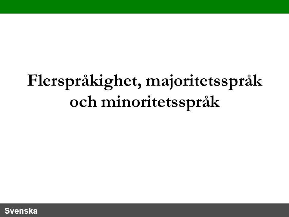 Svenska Flerspråkighet, majoritetsspråk och minoritetsspråk